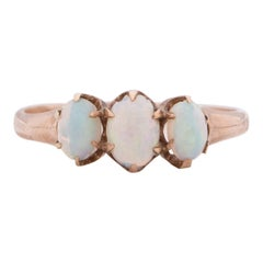 Victorian 10k Yellow Gold Vintage Three Stone Opal Statement Ring