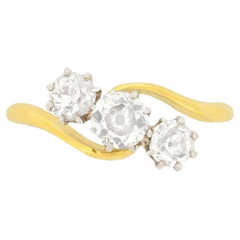 Victorian 1.10 Carat Diamond Three-Stone Twist Ring, circa 1880s