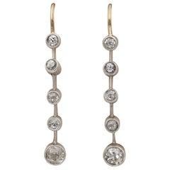 Victorian 1.10 Carat Old Mine Cut Diamond Bar Line Drop Earrings