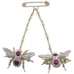 Victorian 1.10 Carat Ruby and Opal Diamond and Gold Bee Brooch