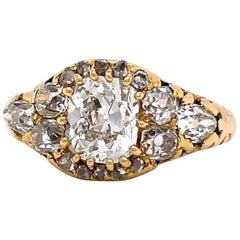 Victorian 1.12 Carat Old Mine Cut Diamond 14 Karat Gold Cluster Ring