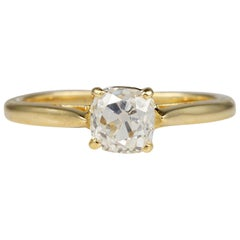 Victorian 1.15 Carat Old Mine Cushion Cut Diamond Solitaire Ring