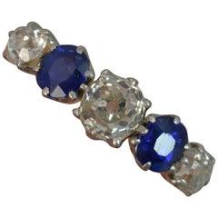 Victorian 1.2 Carat Old Cut Diamond Sapphire 18 Carat Gold Five-Stone Stack Ring