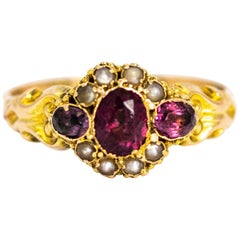 Victorian 12 Karat Gold Amethyst and Pearl Cluster Ring