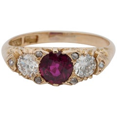 Victorian 1.20 Carat Natural No Heat Ruby Diamond Rare Trilogy Ring