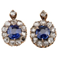 Victorian 1.20 Carat Natural Unheated Sapphire .88 Ct Rose Cut Diamond Earrings