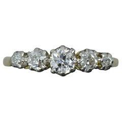 Victorian 1.20 Carat Old Cut Diamond 18 Carat Gold Five-Stone Band Ring