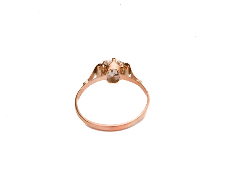 Antique Cushion Cut Victorian 1.20 Carat Old Mine Cushion Diamond Engagement Ring For Sale