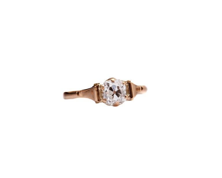 Victorian 1.20 Carat Old Mine Cushion Diamond Engagement Ring In Excellent Condition For Sale In Hicksville, NY