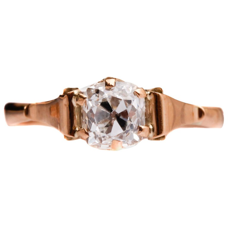 Victorian 1.20 Carat Old Mine Cushion Diamond Engagement Ring For Sale