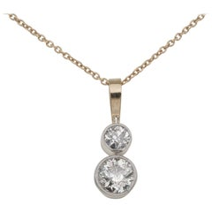 Victorian 1.20 Carat Twin Old Mine Cut Diamond Drop Necklace