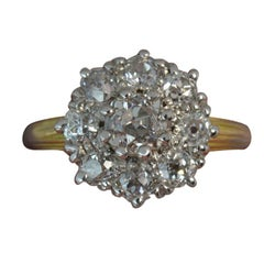 Victorian 1.20 Carat Old Cut Diamond 18 Carat Gold and Platinum Cluster Ring