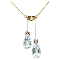 Victorian 12.22 Carat Aquamarine Diamond 14 Karat Gold Double Drop Necklace