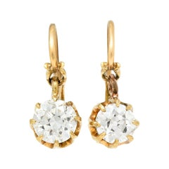 Victorian 1.25 Carats Old European Cut Diamond 14 Karat Gold Drop Earrings