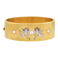 Victorian 1.25 Total Carat 3-Stone Diamond Enameled Cherubs Bangle Bracelet
