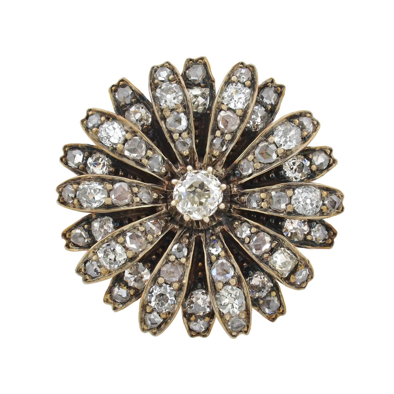 Victorian 1.25 Total Carat Diamond Flower Pin Pendant