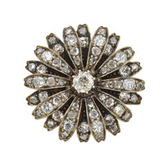 Victorian 1.25 Total Carat Diamond Flower Pin Pendant