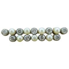 Victorian 1.30 Carat Diamond and Pearl Brooch
