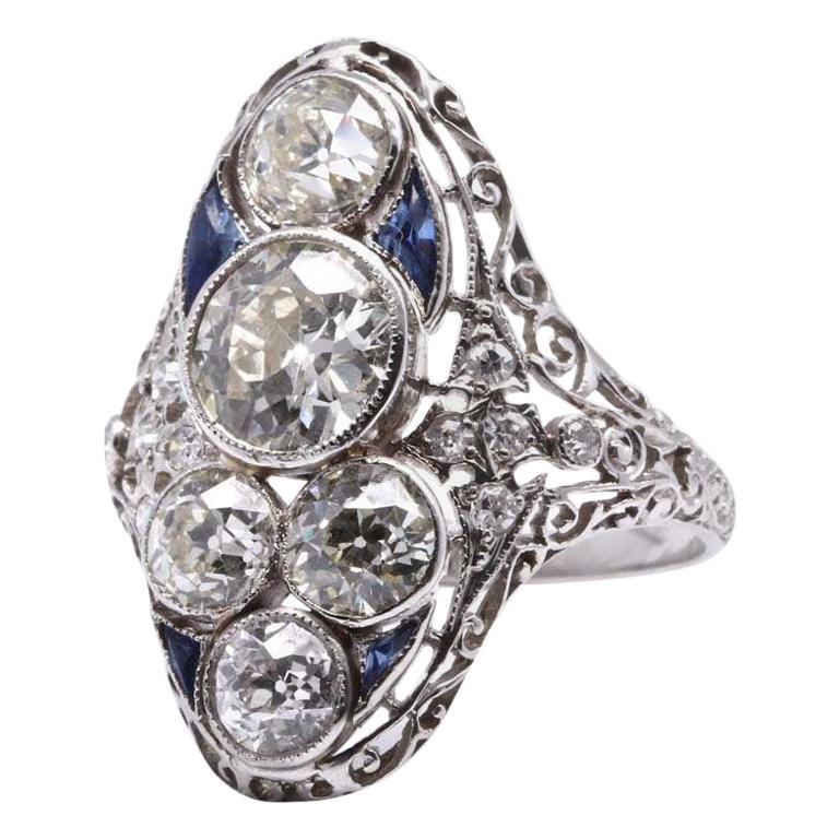 Victorian 1.30 Carat Old European Cut Diamond Platinum Ring