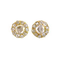 Victorian 1.30 Total Carat Old Rose Cut Diamond Cluster Stud Earrings