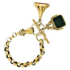 Victorian 14 and 18 Karat Gold Fob Charm Hand Link Bracelet