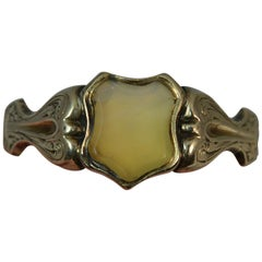 Victorian 14 Carat Gold Shield Shaped Agate Signet Ring