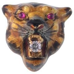 Victorian 14 Karat Enamel, Diamond and Ruby Tiger Charm