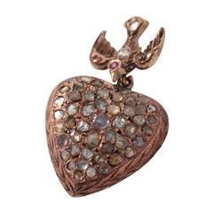 Victorian 14 Karat Gold and Rose Cut Diamond Heart Pendant