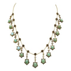 Victorian 14 Karat Gold and Turquoise Festoon Necklace