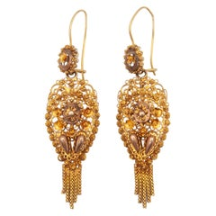 Victorian 14 Karat Gold Cannetille Filigree Drop Earrings