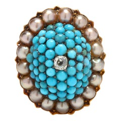Victorian 14 Karat Gold Diamond, Turquoise, and Pearl Bombe Ring