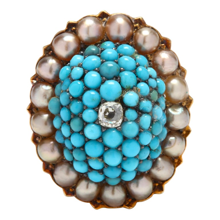Victorian 14 Karat Gold Diamond, Turquoise, and Pearl Bombe Ring For Sale