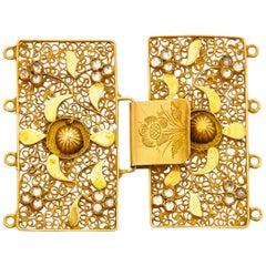 Victorian 14 Karat Gold Floral Filigree Jewelry Closure