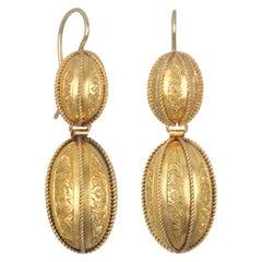 Victorian 14 Karat Gold Melon Form Pendant Earrings