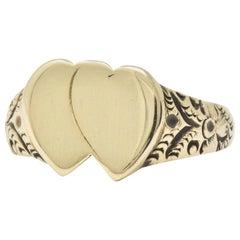 Victorian 14 Karat Gold Men's Double Heart Ring L. Tassara