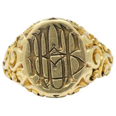Victorian 14 Karat Gold Signet Unisex Ring