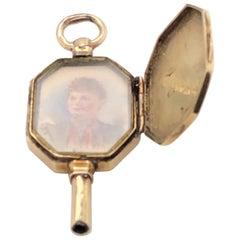 Victorian 14 Karat Hand Engraved Locket Portrait Miniature Watch Key