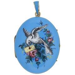 "Victorian 14 Karat Hand Painted Enameled ""Bird and Love Letter"" Locket Pendant"