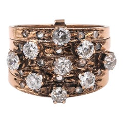 Victorian 14 Karat Rose Gold and Diamond 5-Band Harem Ring