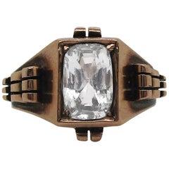 Retro 14 Karat Rose Gold and White Sapphire Ring