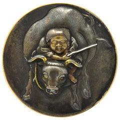 Victorian 14 Karat Rose Gold Boy and Ox Shakudo Mixed Metal Ring