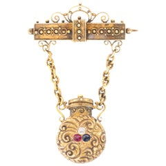 Victorian 14 Karat Gold Diamond Sapphire and Ruby Brooch with Perfume Bottle