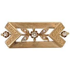 Victorian 14 Karat Rose Gold Diamond Seed Pearl Brooch