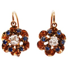 Victorian 14 Karat Rose Gold Mine Cut Diamond and Sapphire Flower Drop Earrings
