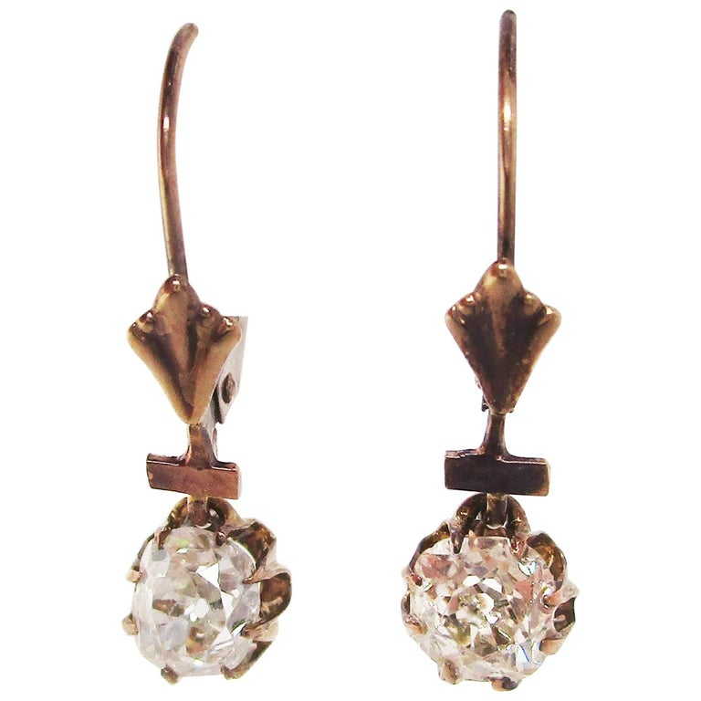 Victorian 14 Karat Rose Gold Old Mine Cut Diamond Drop Dangle Earrings For Sale