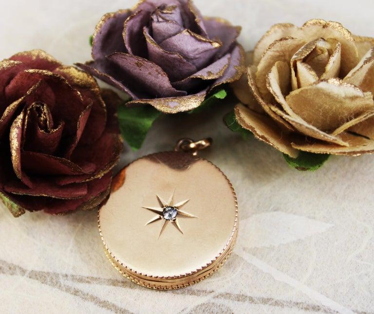 Victorian 14 Karat Rose Gold Old Mine Cut Diamond Locket For Sale 6