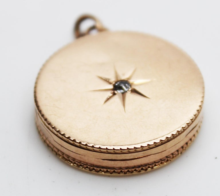 Victorian 14 Karat Rose Gold Old Mine Cut Diamond Locket In Excellent Condition For Sale In Lexington, KY