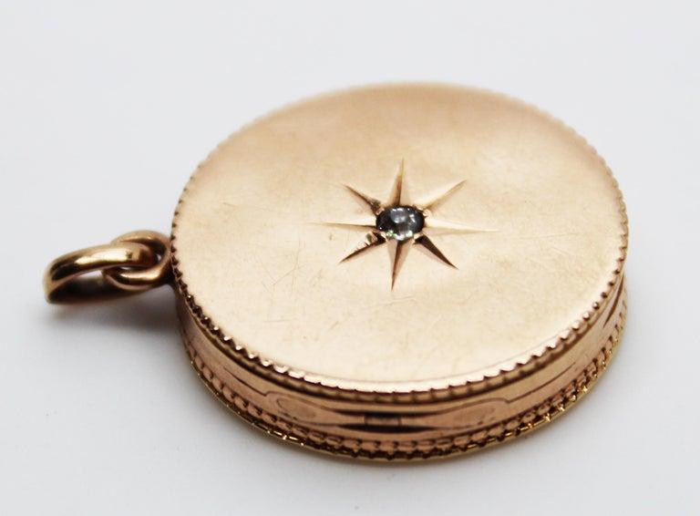 Victorian 14 Karat Rose Gold Old Mine Cut Diamond Locket For Sale 2