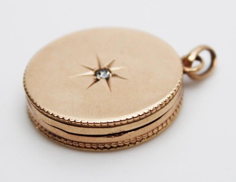 Victorian 14 Karat Rose Gold Old Mine Cut Diamond Locket For Sale 3