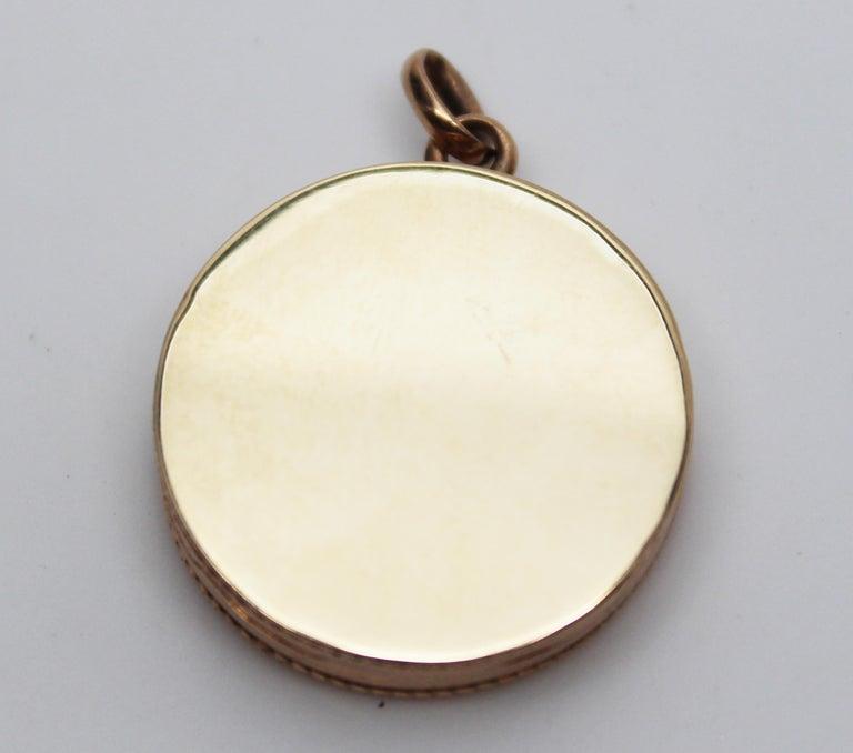 Victorian 14 Karat Rose Gold Old Mine Cut Diamond Locket For Sale 4